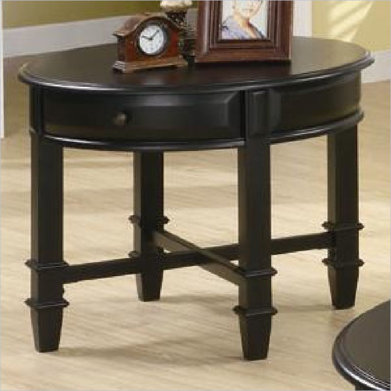Best Coaster Montrose Round End Table With Drawer In Rich Black 400 x 300