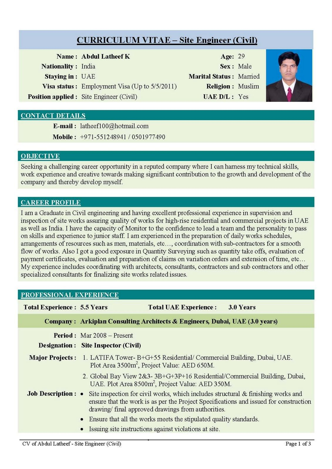 International Cv Format For Civil Engineers