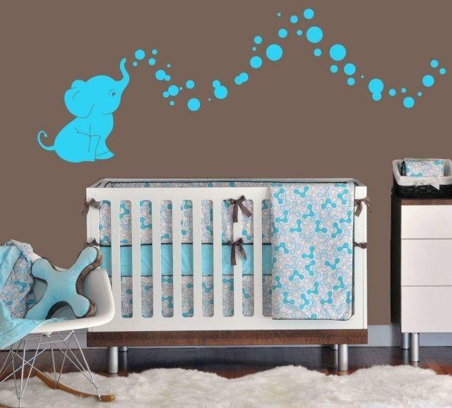 babyzimmer gestalten neutral aqua braun elephanten wandtattoo, Schlafzimmer design