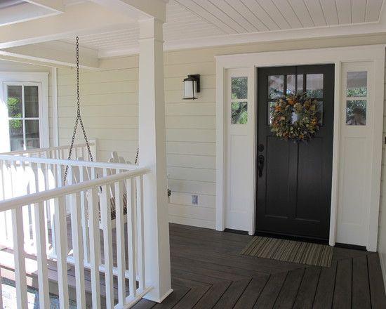 Porch Design  Enchanting Farmhouse Porch With Black Front Door  Porch Design  Enchanting Farmhouse Porch With Black Front Door  . Exterior Doors Farmhouse Style. Home Design Ideas