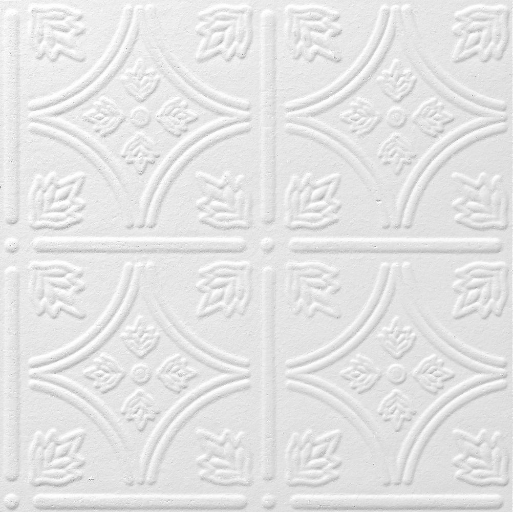 Tintile tin look collection tinmetal paintable 12 x 12 tile armstrong ceilings common x actual x tin look tintile homestyle white faux tin surface mount acoustic ceiling tiles at lowes dailygadgetfo Image collections