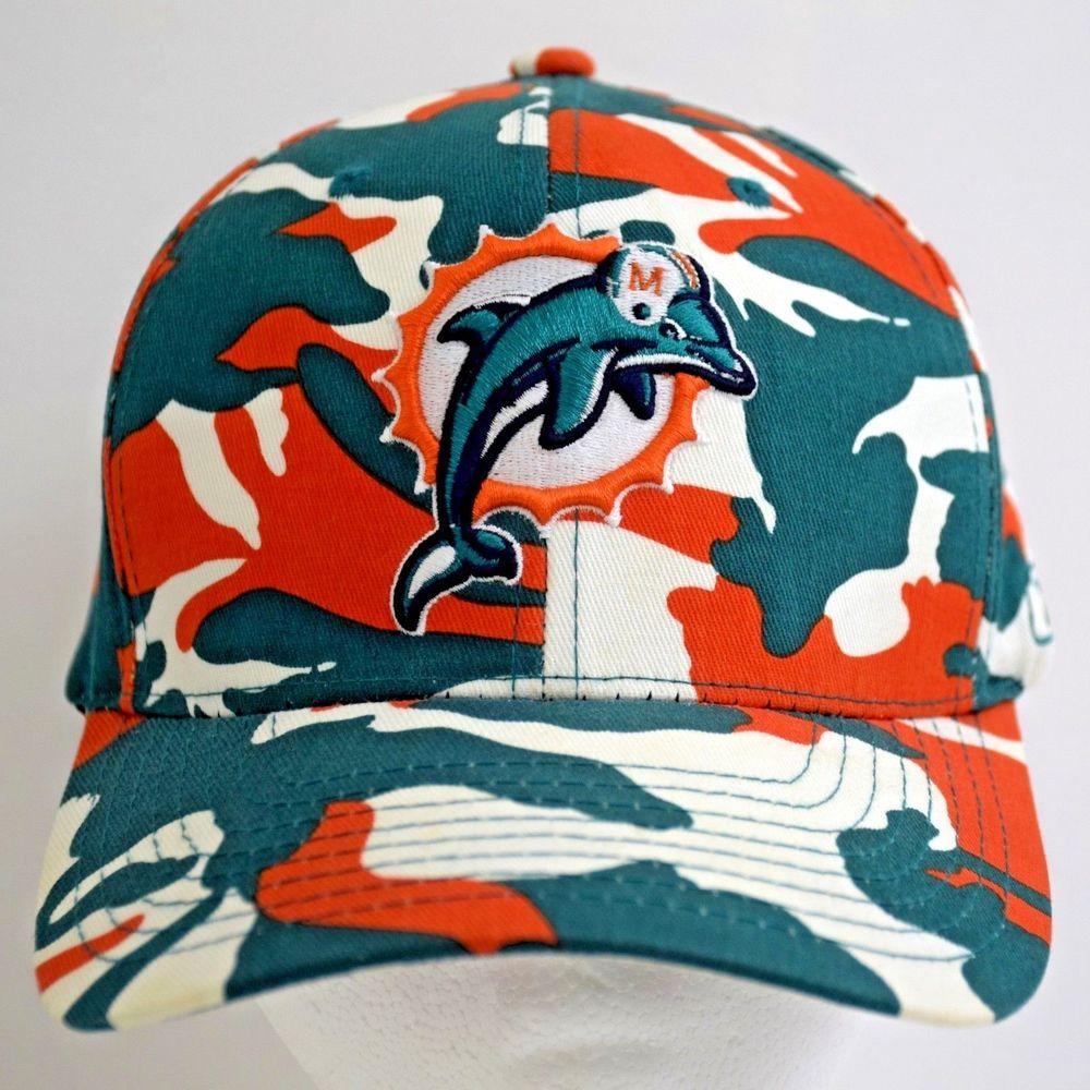 d1deee1ba7b46c Miami Dolphins Hat NFL Reebok Camo Cap Flexfit Orange Green White One Size  #Reebok #MiamiDolphins