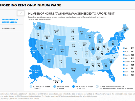 Heat Map Of Us.U S Heat Map Number Of Hours Are Needed To Afford A Rent On