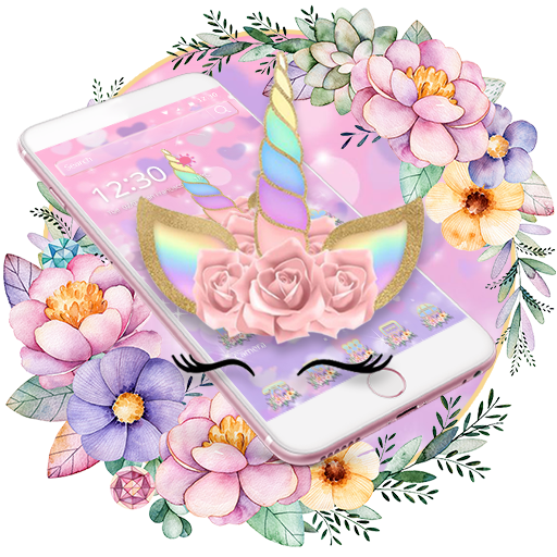 Theme Flower Unicorn Dream Com Launcher Theme T211807981 Apk Pink Unicorn Wallpaper Themes App Flower Icons