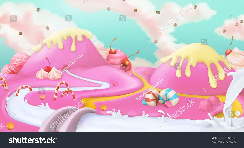 Candy land. Pink sweet landscape, vector 3d background | dessin ...