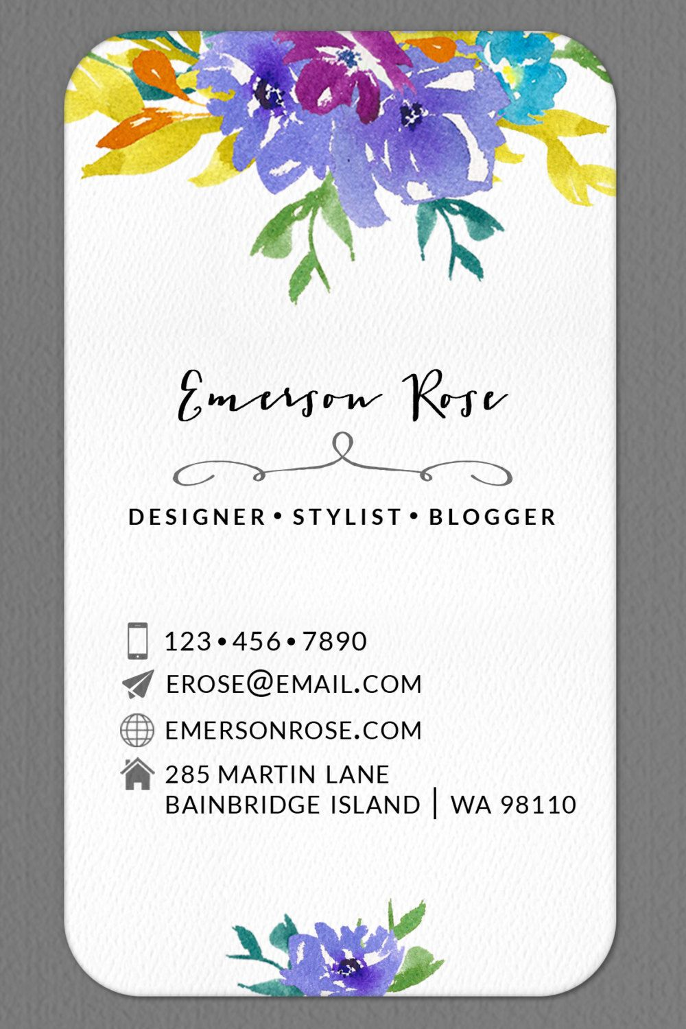 Personalized Business Calling Card Watercolor Flower Set