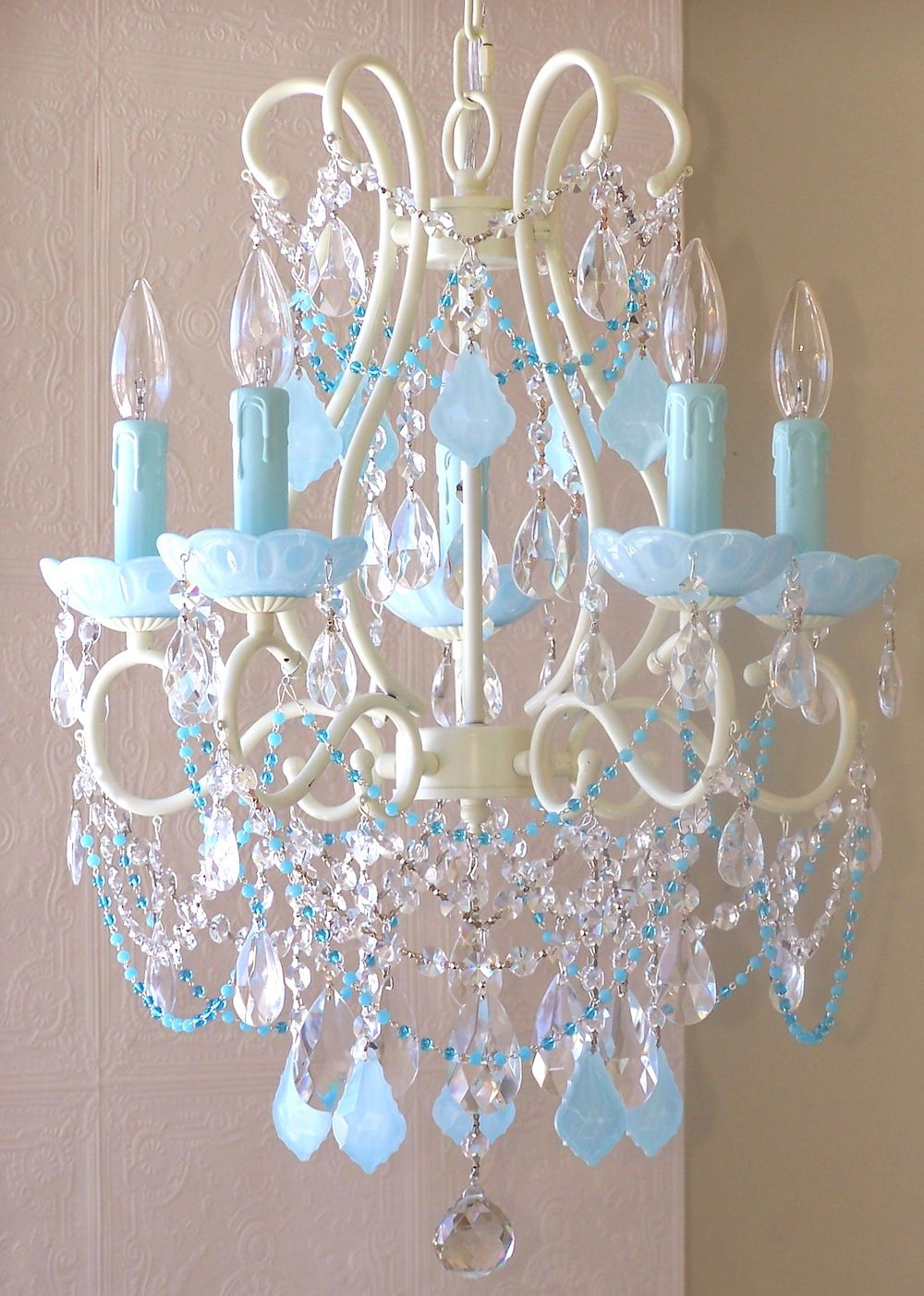 5 light beaded chandelier with opal aqua blue crystals i 5 light beaded chandelier with opal aqua blue crystals i absolutely adore this aloadofball Gallery