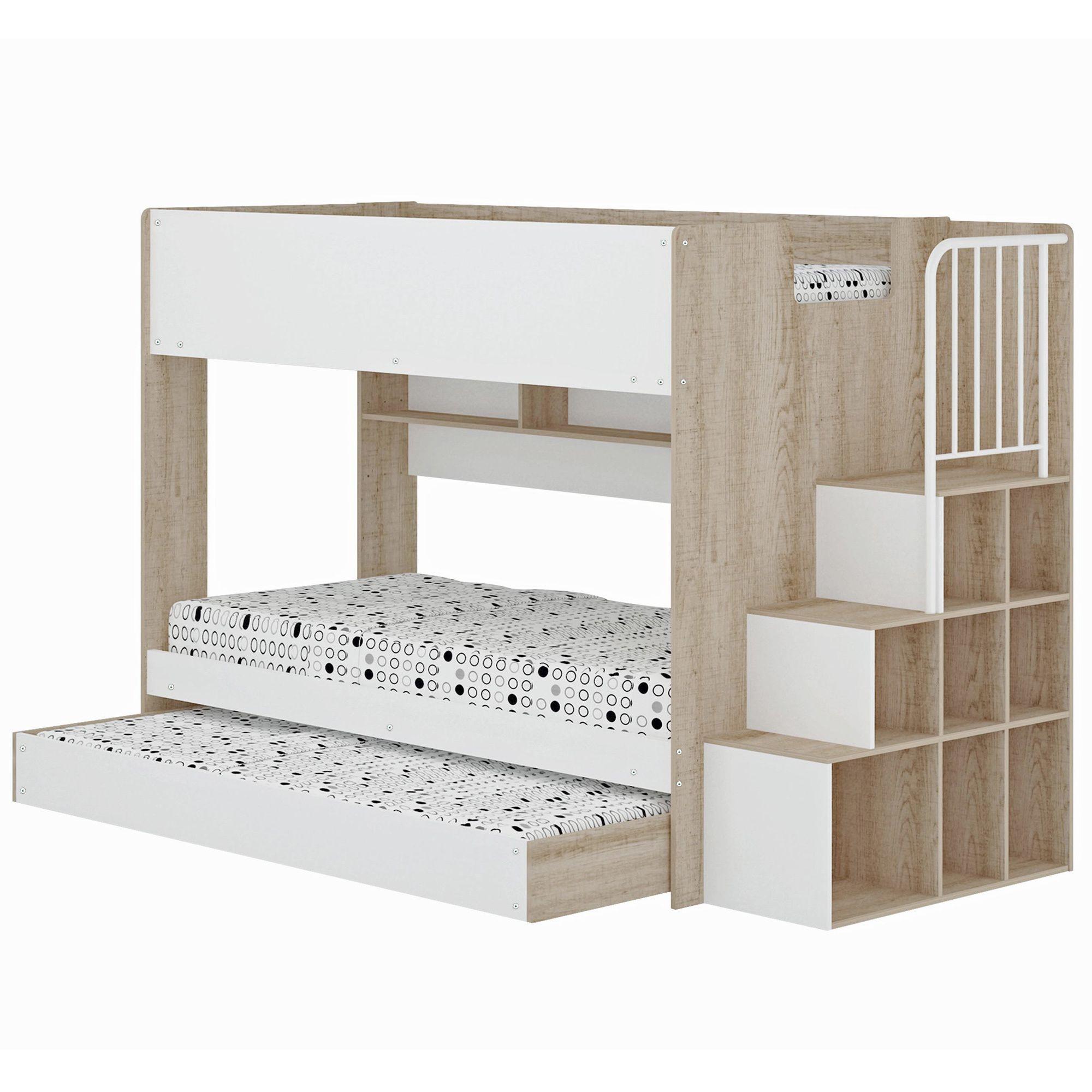 Loft bed with desk jordan's furniture  Cruz Trio Single Bunk Bed u Shelves  Bunk bed shelf Single bunk