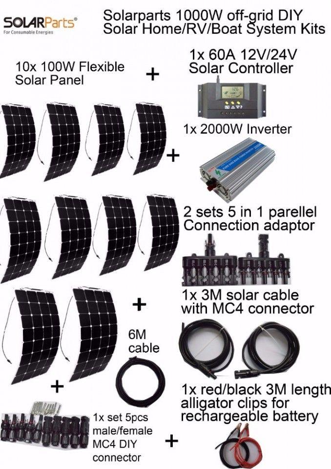 solar panel 1 000 watts flexible 60A controller 2KW