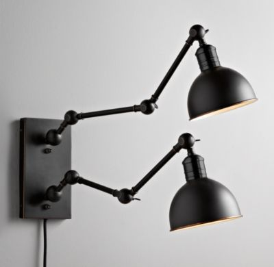 Double Swing-Arm Tipton Sconce Black | Wall | Restoration Hardware Baby &  Child - Double Swing-Arm Tipton Sconce Black Wall Restoration Hardware