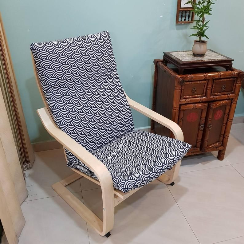Best Seller Ikea Poang Chair Cushion Cover Japanese Wave Etsy