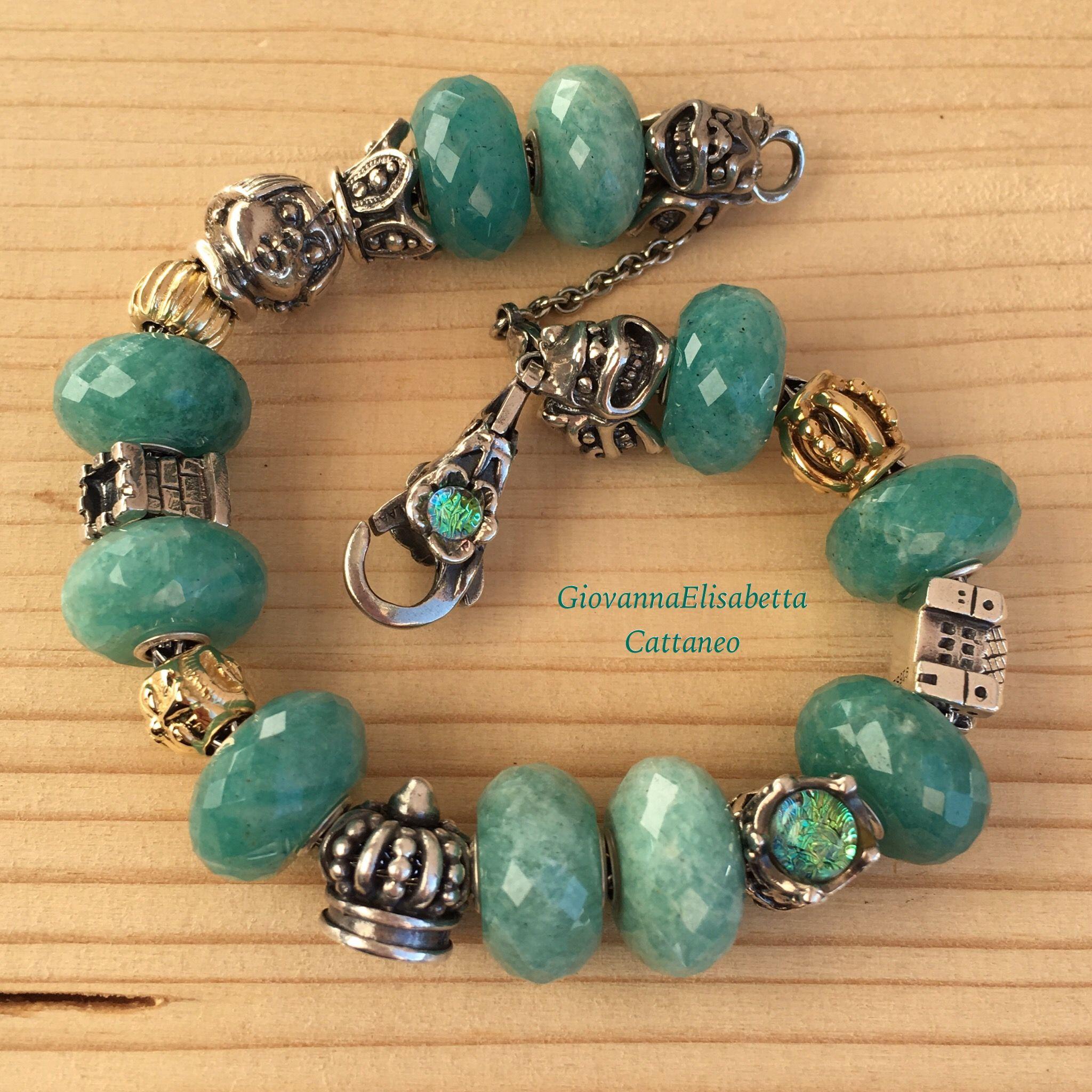 charms pandora bleu vert