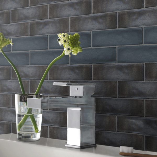 Black Brick Wall Tile Textured Black Ceramic In A Rustic Matt Black Finish The Kitchen Collection Indust Wall Tiles Bathroom Wall Tile Bathroom Wall Coverings