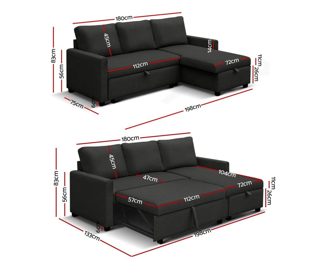 Artiss Sofa Bed Lounge Set 3 Seater Futon Couch Storage Chaise Corner Fabric Sofa Bed With Storage Couch With Chaise Sofa Bed Set