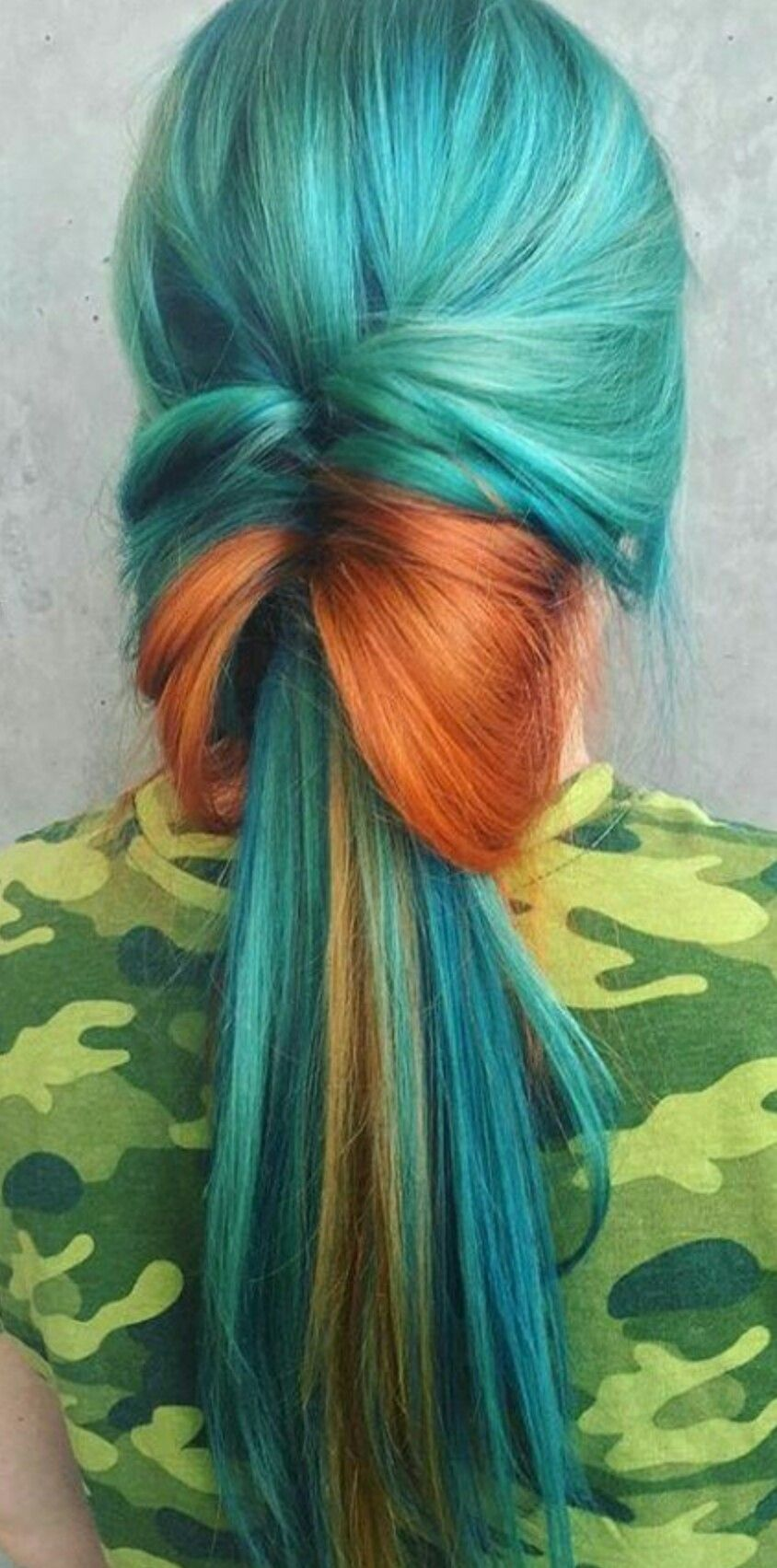 Turquoise Green Orange Dyed Hair Theunicorntribe Hair Color Orange Orange Ombre Hair Dyed Hair