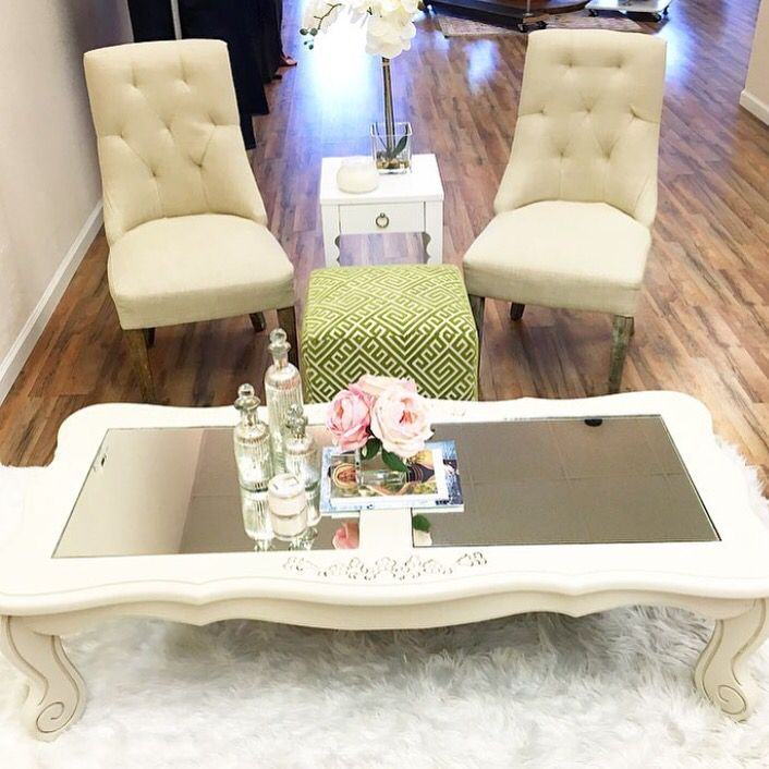 Off White Coffee Table Repainted In Chalk Paint With Mirror Inserts.  Refurbished By Peachy Perch
