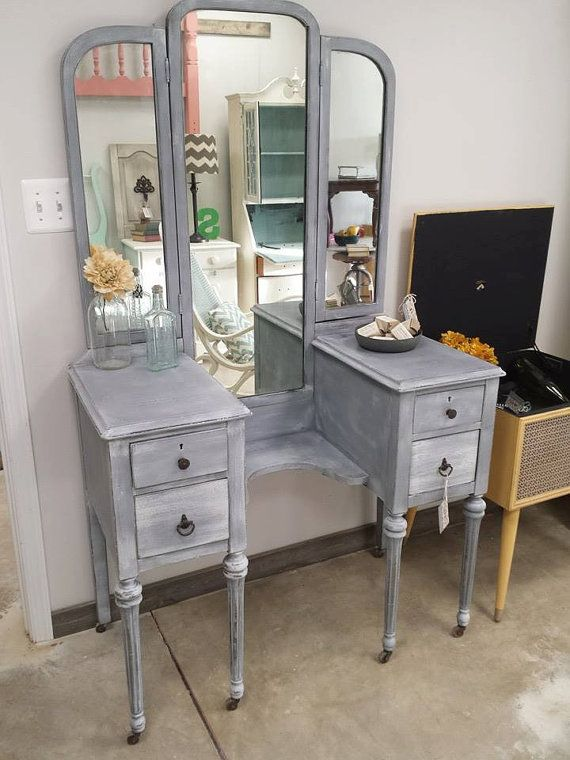 Beautiful Antique Vanity Hand painted in a slate Gray with hints of white. ligtly distress on the edges. $399    Can be shipped. Please