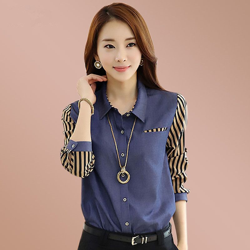 >> Click to Buy <<  New Female  Long sleeves Stitching stripe Wild business attire shirt #Affiliate