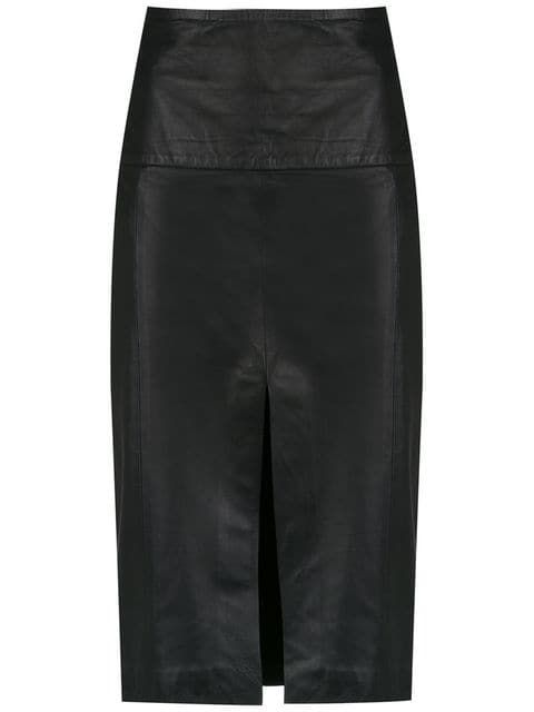 8a541059a512 CLÉ | Leather Skirt - Preto | $1,311 | Black leather skirt from CLÉ  featuring a