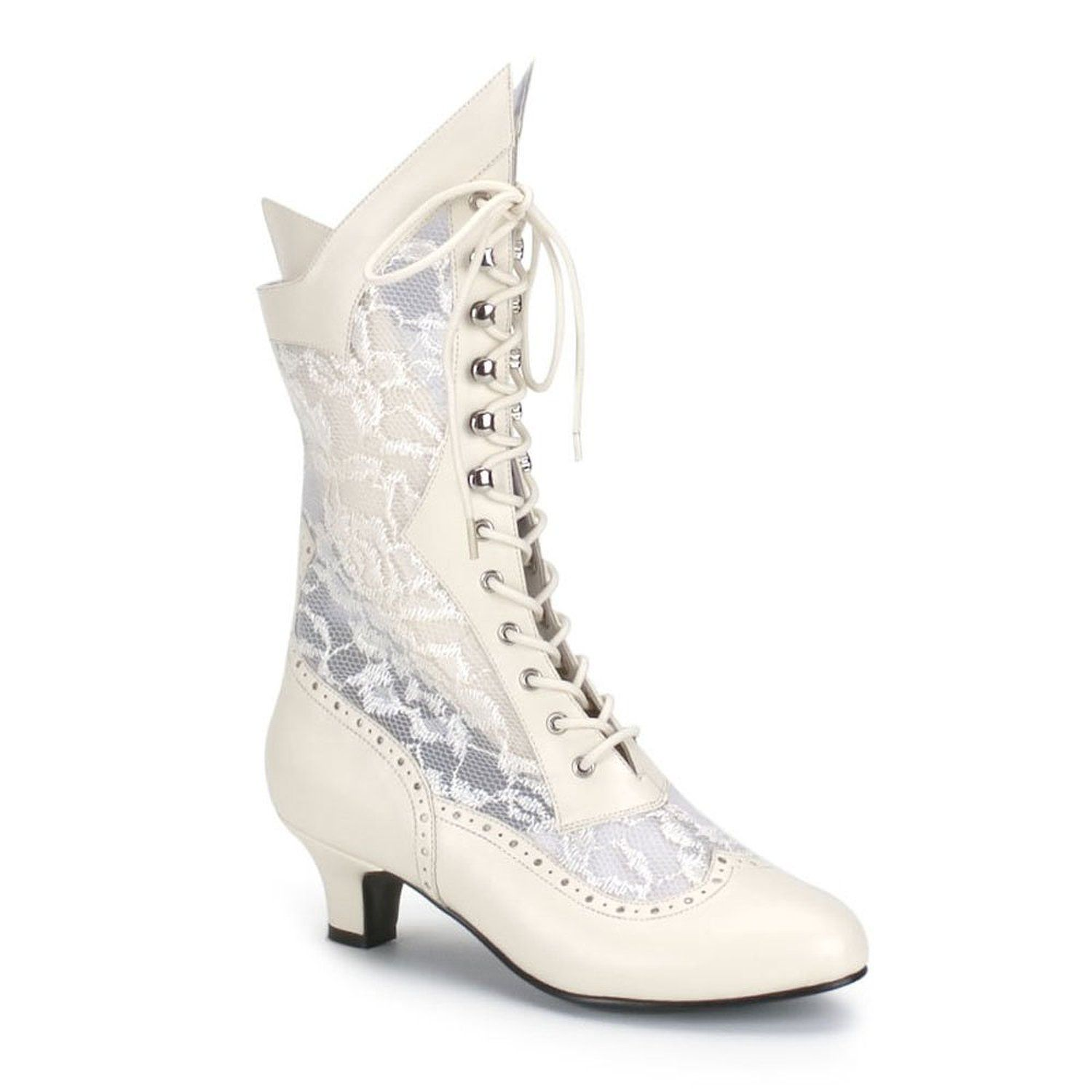 Gorgeous White Lace Up Boots In Victorian Style