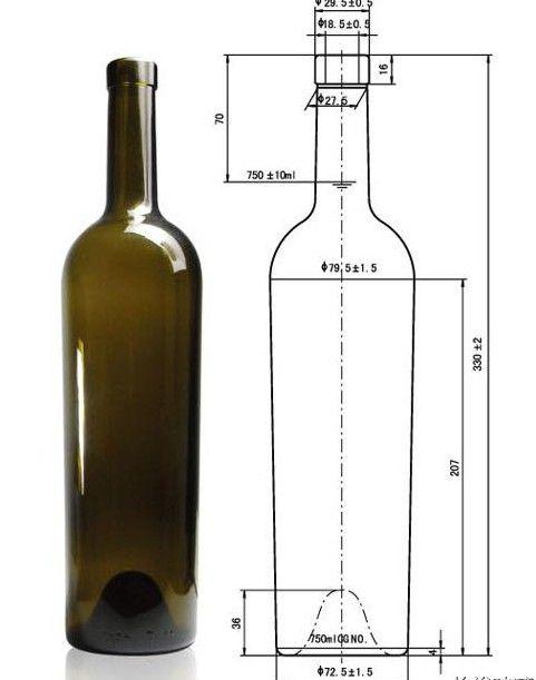 750ml Bordeaux Bottleswine Bottlesantique Green Wine Bottles