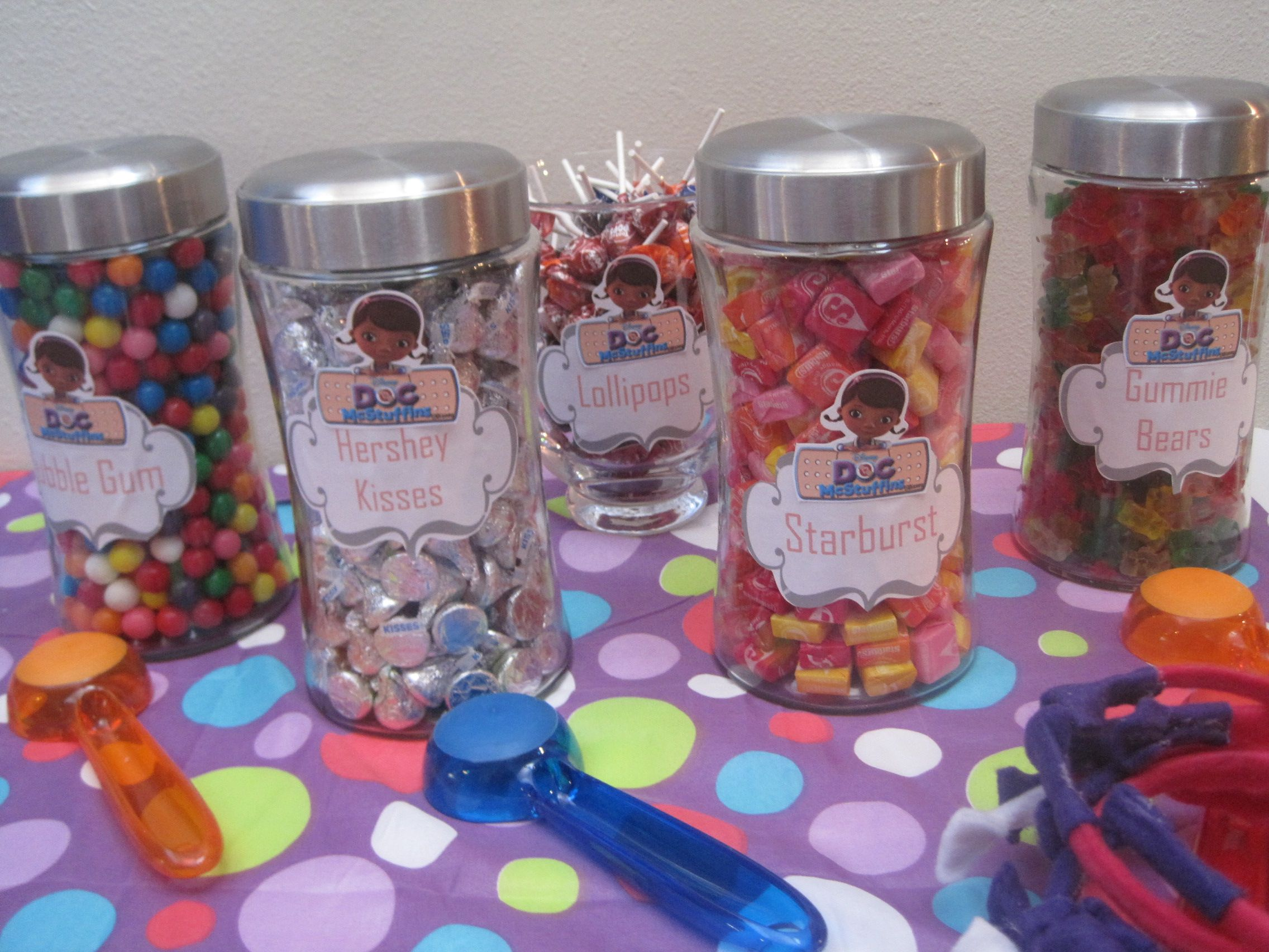 Doc mcstuffins bandages doc mcstuffins party ideas on pinterest doc - Doc Mcstuffins Candy Buffet With Closed Jars Just Like At A Dr Office