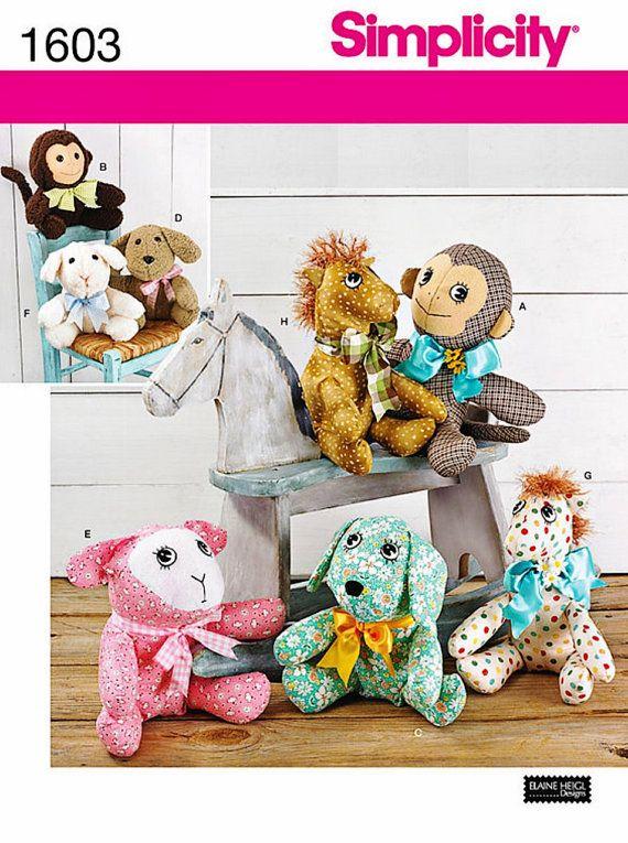 Denim Elephant /& Cute Fabric Rag Doll Easy 2 X Stuffed Toy Sewing PATTERNS