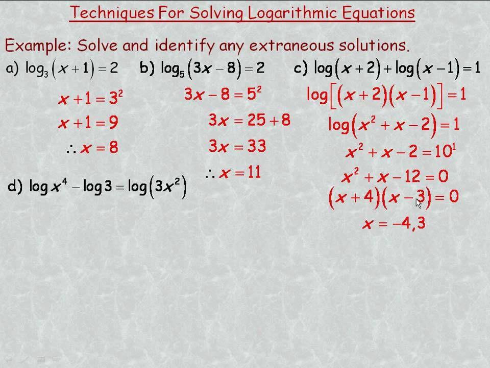 Techniques for Solving Logarithmic Equations | Mathy Stuff ...