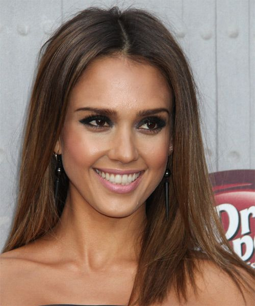 Jessica Alba Long Straight Casual Hairstyle Brunette