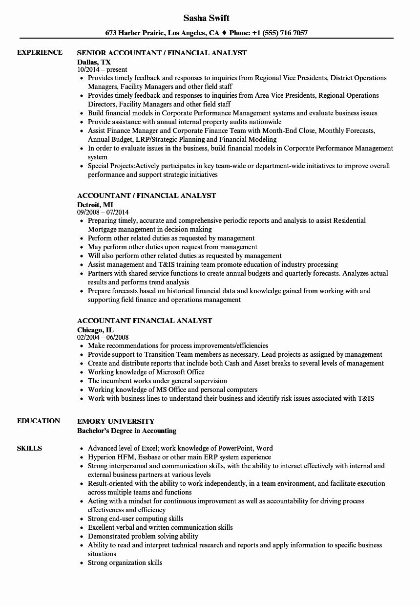 Financial Analyst Resume Template Best Of Accountant