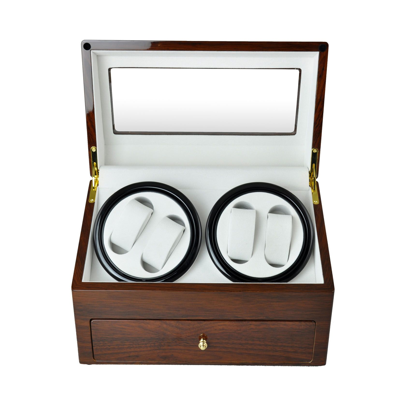 High gloss Golden Oak wooden Automatic Watch Winder display box with Apricot leather interior  $219.95  Size: 34.5×18.7×21.7cm Super quiet Japanese motor Elegant design with High gloss Golden Oak Finished Winders for 4 watches and another 4 compartments for watches in drawer 9 programs mode and TPD (turns per day) setting Made of solid timber and gloss hardware Top quality Apricot color leather Spare space for accessories, adapter included