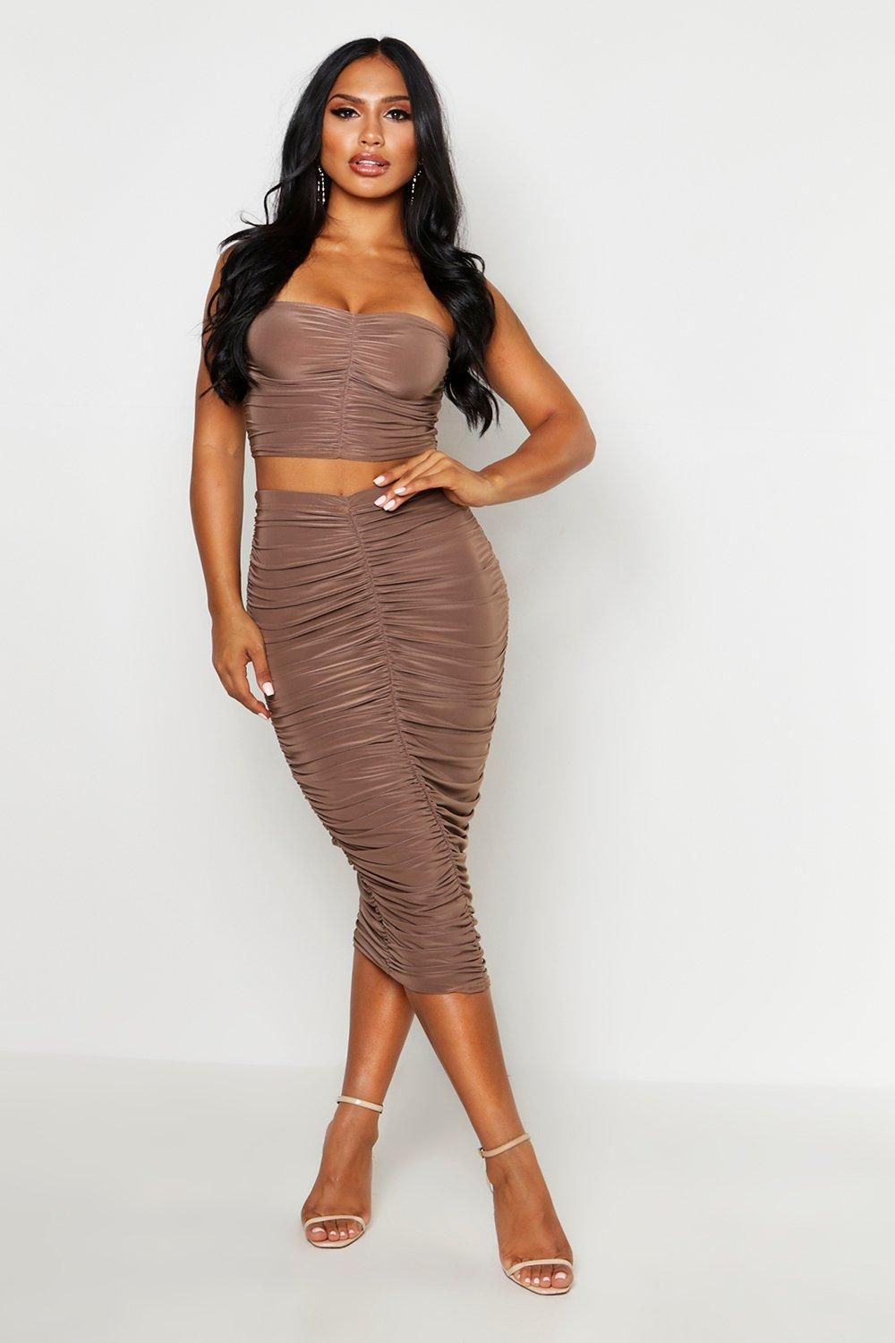 Slinky Ruched Off The Shoulder Top Midi Skirt Two Piece Set Boohoo Fashion Bougie Outfits Dinner Outfits Women [ 1500 x 1000 Pixel ]