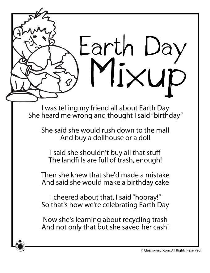 Earth Day Kids Poems Earth Day Kids Poem  Earth Day Mixup