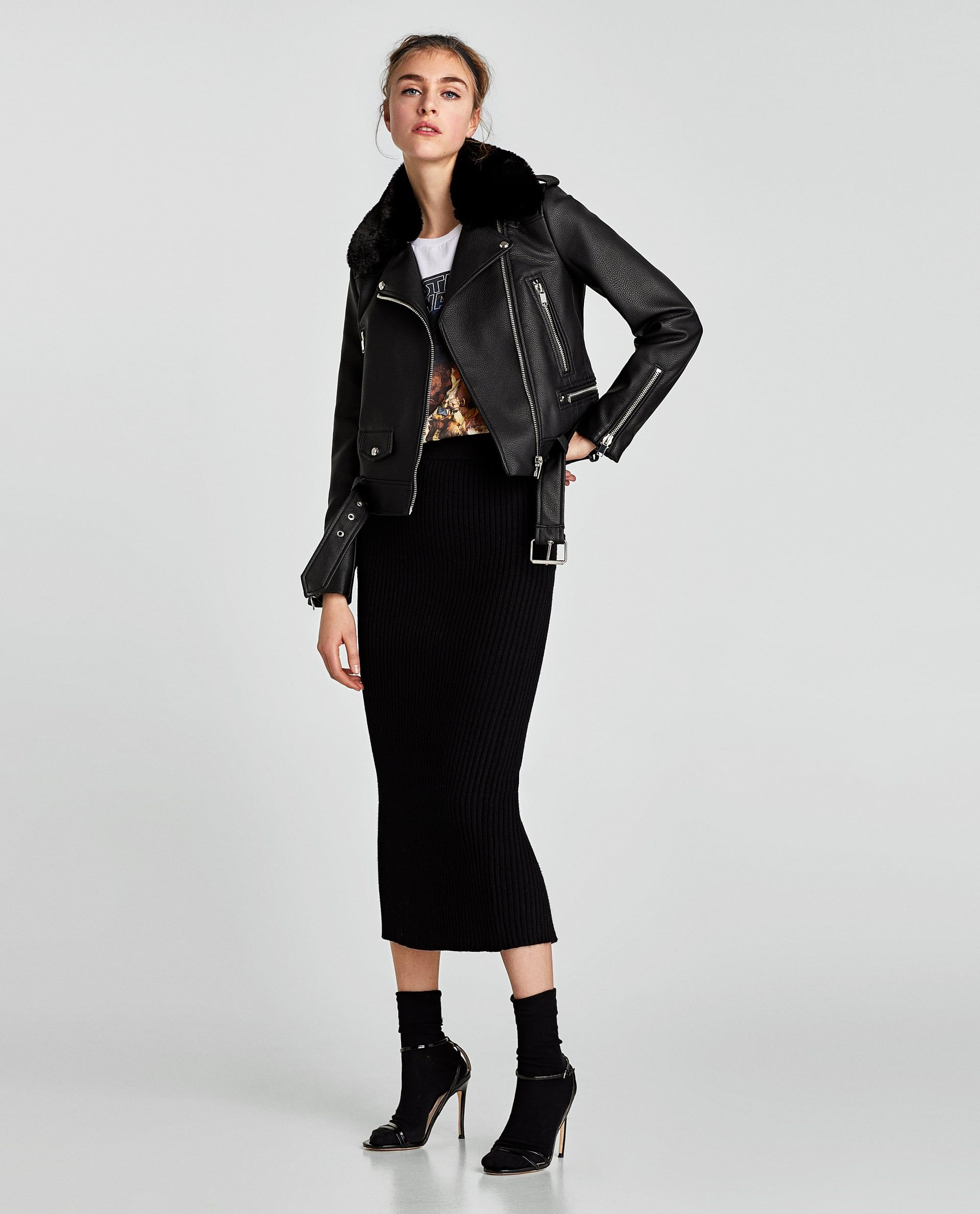 CAZADORA BIKER EFECTO PIEL Quirky fashion, Zara, Tube skirt