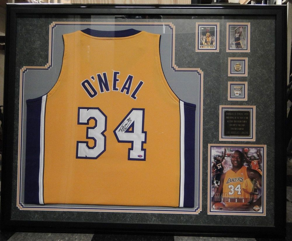 98b4c444ded NBA Lakers Shaquille O Neal  34 Signed Framed Jersey CoA Los Angeles 2000  MVP
