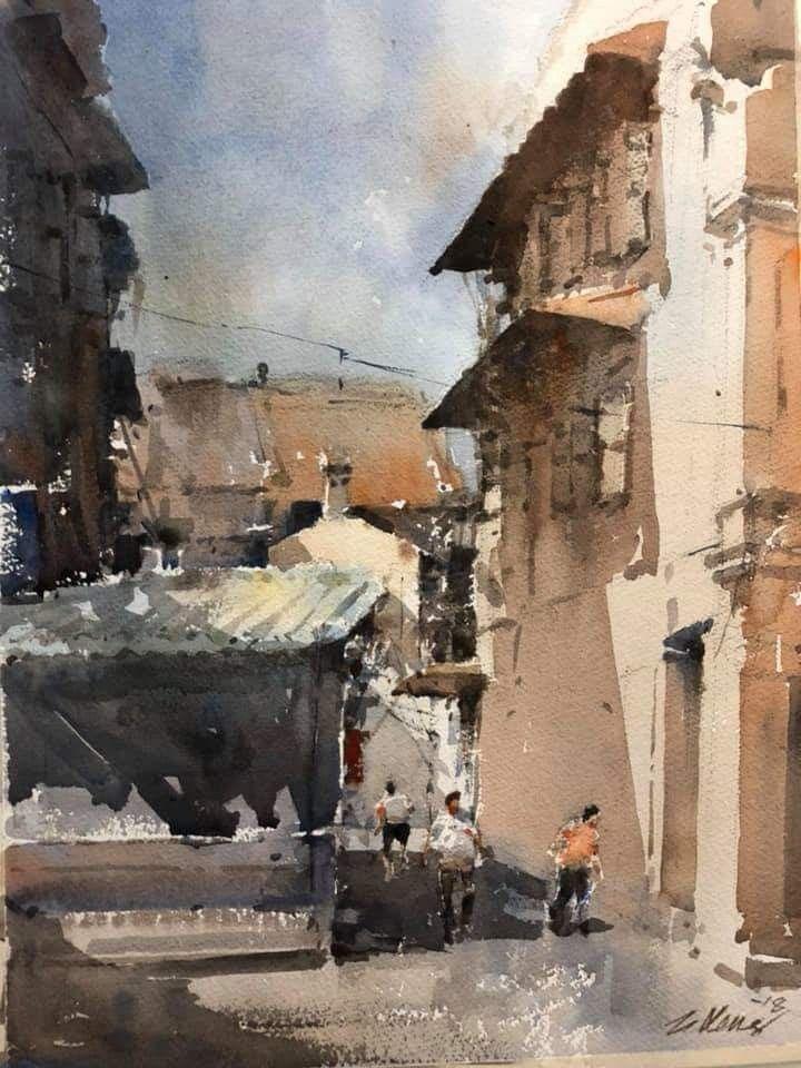 Ong Kim Seng Watercolor art landscape, Colorful