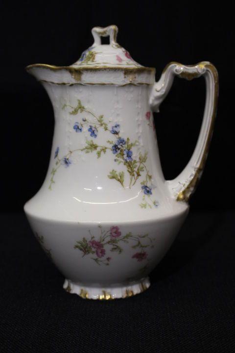 Vintage H&Co Haviland Limoges GOLD Trim Pink/Blue Floral CHOCOLATE POT w/Lid