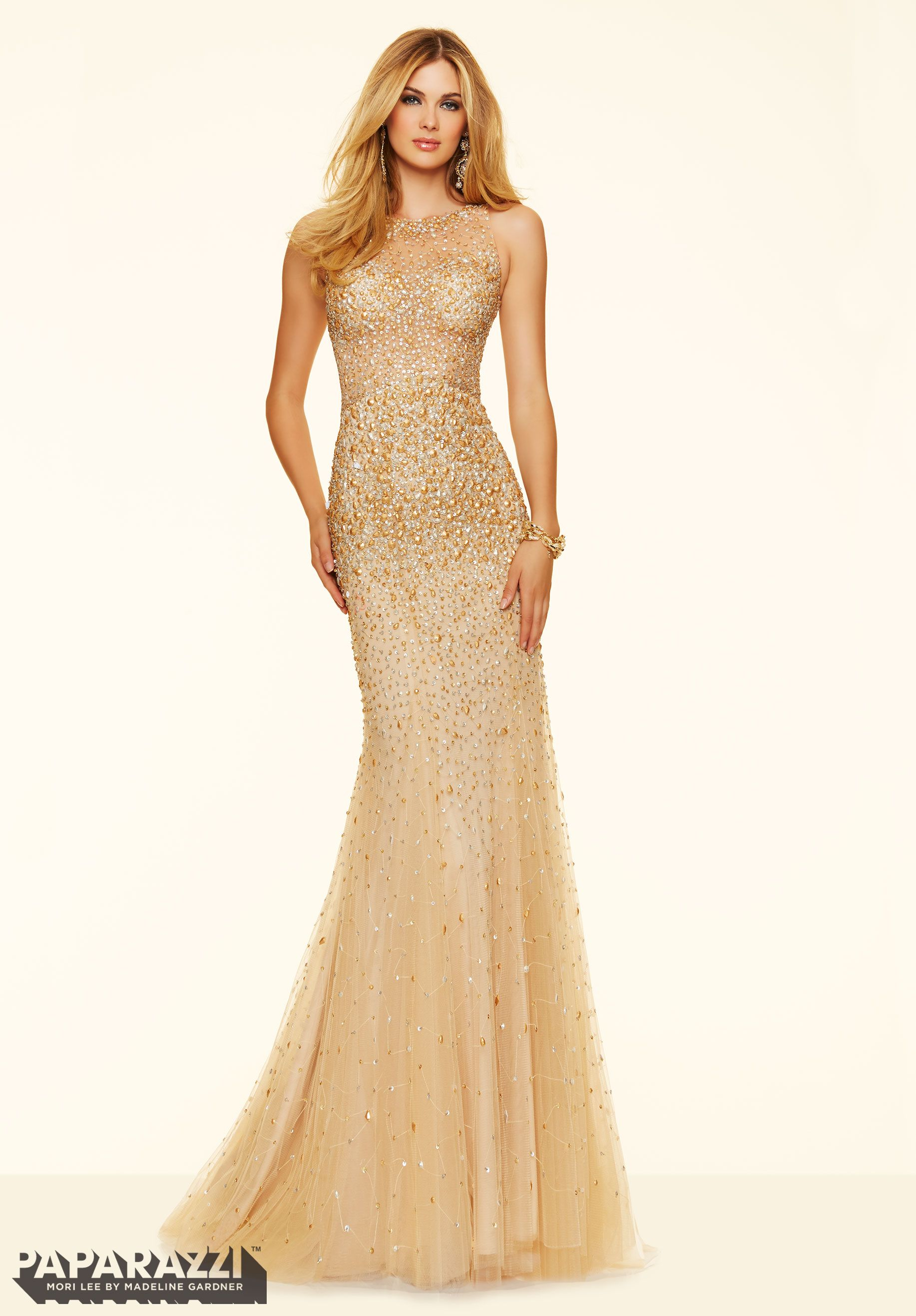 Prom dresses by paparazzi prom allover beading on net for Wedding dresses with gold beading