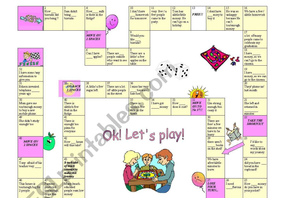 Quantifiers Board Game Worksheet