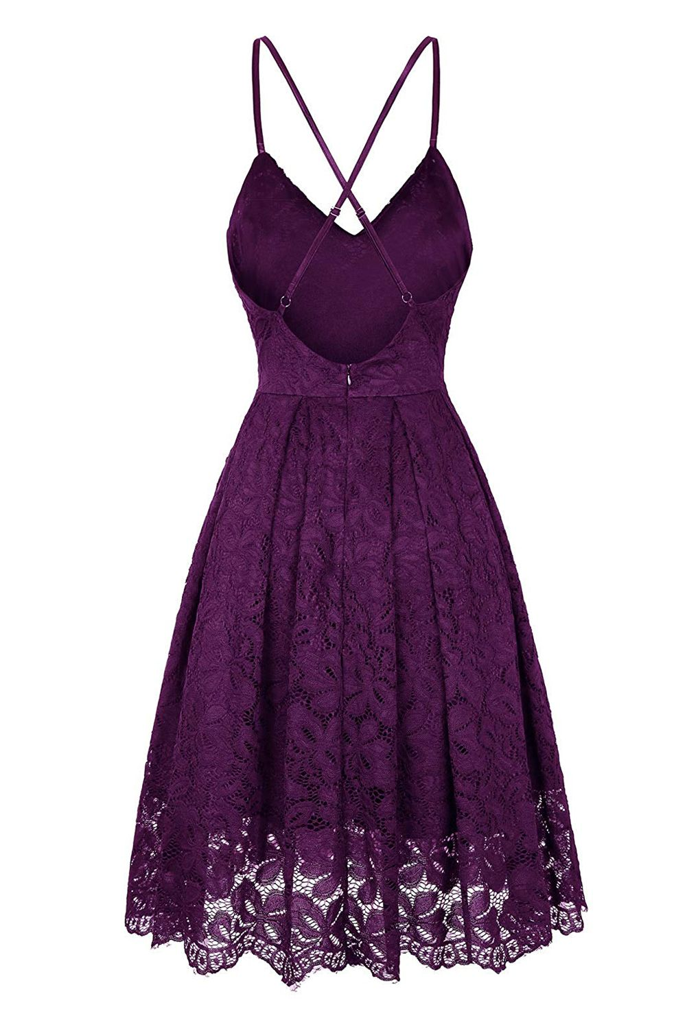 Purple Floral V Neck A-line Backless Lace Cocktail Dress #backlesscocktaildress