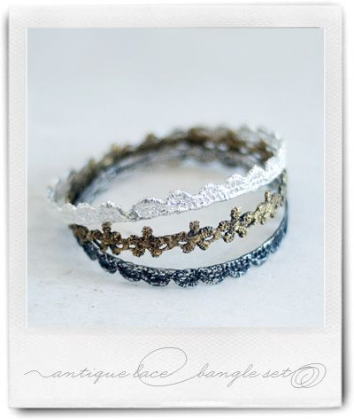 antique flower and European lace bangles, in bright silver, antique silver, and antique brass