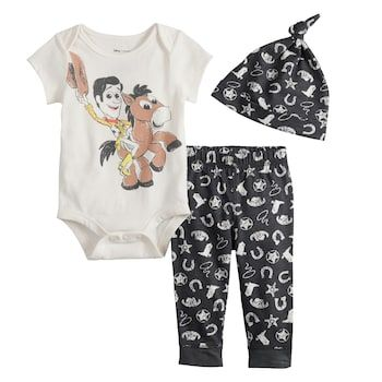 Photo of Disney/Pixar Toy Story Woody & Bullseye Baby Boy Graphic Bodysuit, Print Pants & Hat Set by Jumping Beans® | Kohls