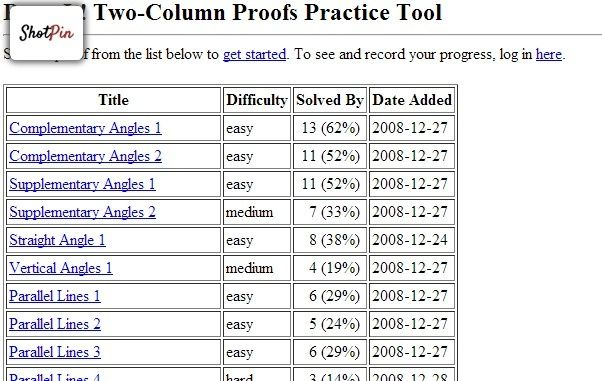 Proveit Two Column Proofs Practice Tool Classroom Math