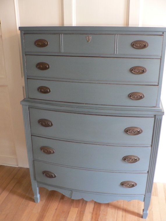 Best Vintage Antique Federal Style Dresser Bureau Blue 640 x 480