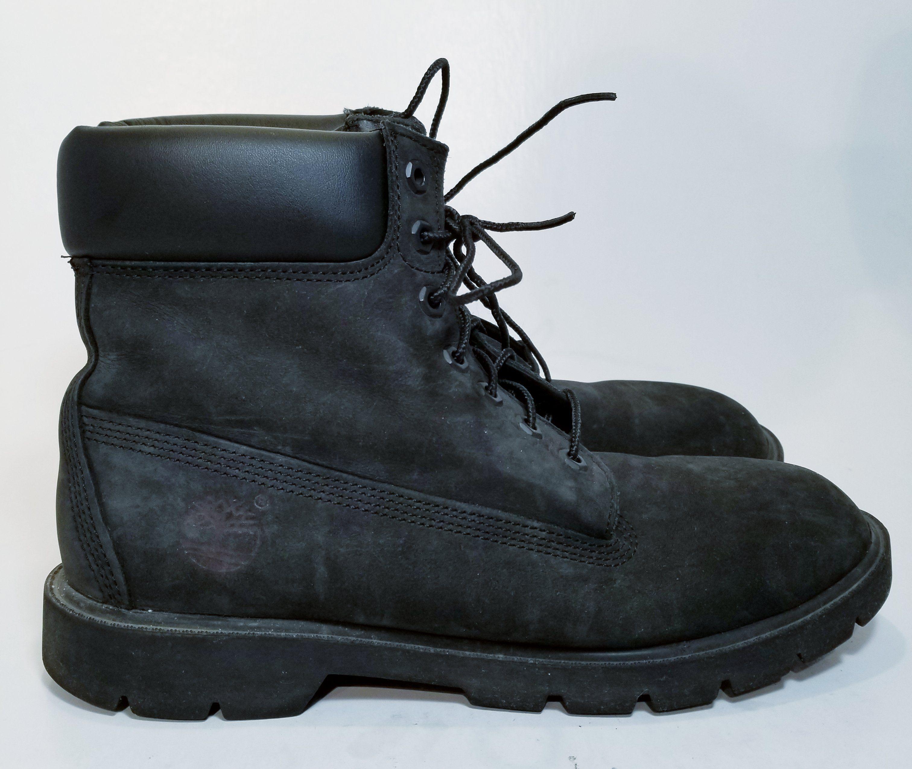 Men's Genuine Leather Snow Boots Black Size 9.5