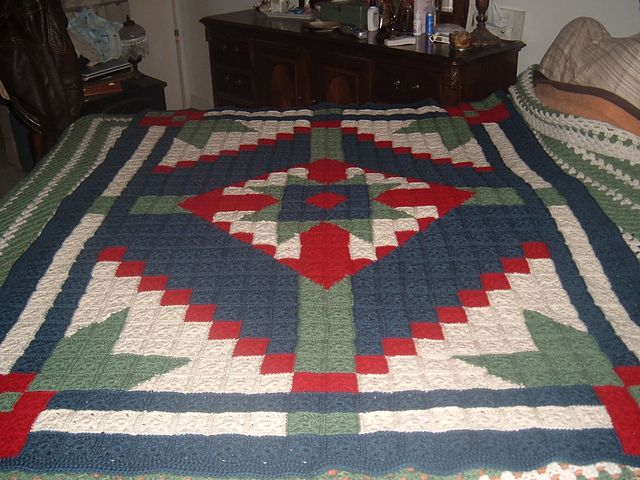 Crochet Afghan Patterns That Look Like Quilts : I crocheted this afghan to look like a quilt. Crochet ...