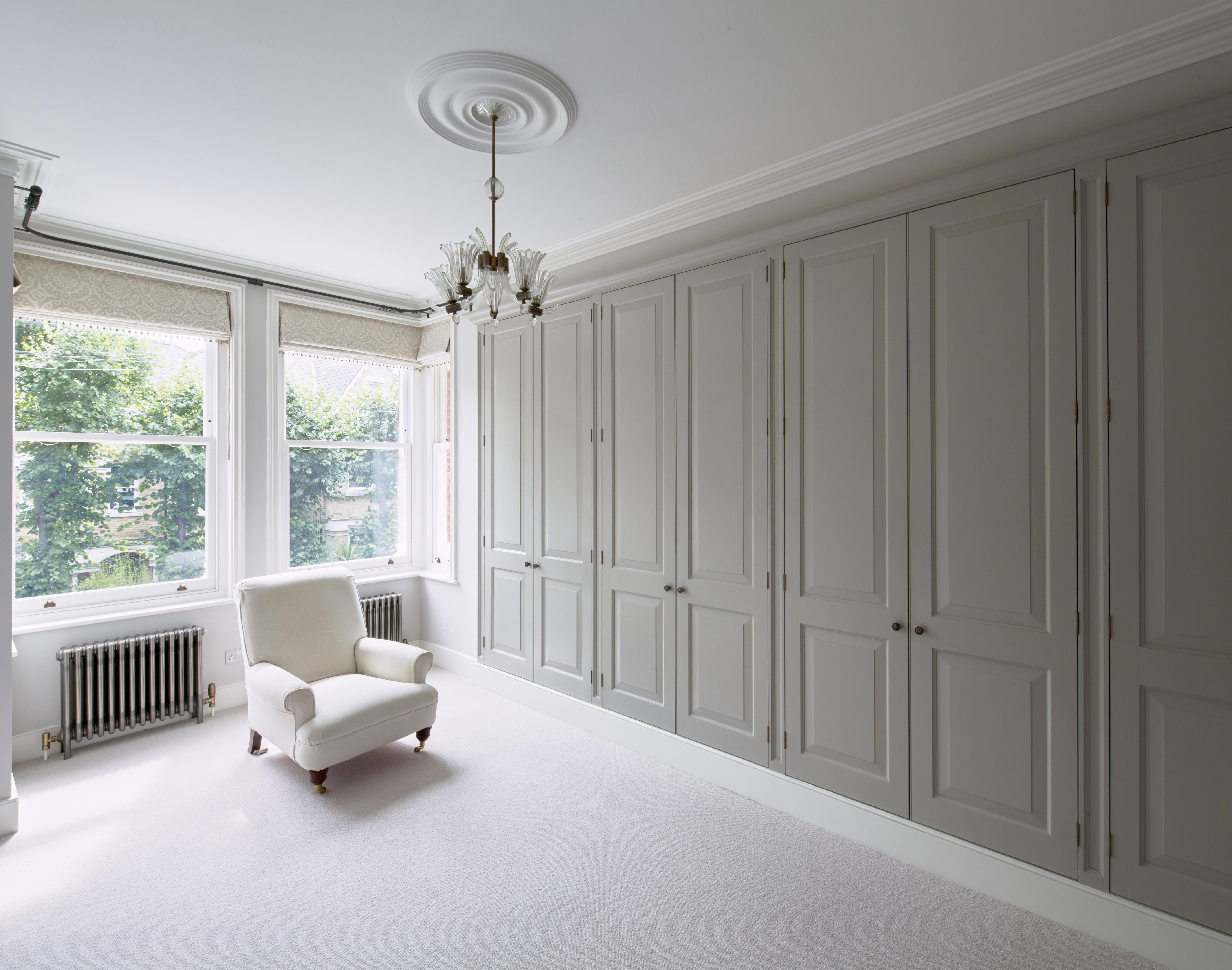 master bedroom bespoke wardrobes, timber doors with raised and