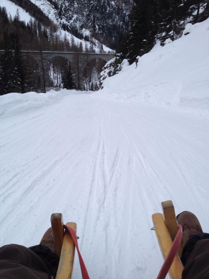 Schlittelspass Preda nach Bergün. Erlebis mit Funfaktor! Cool!