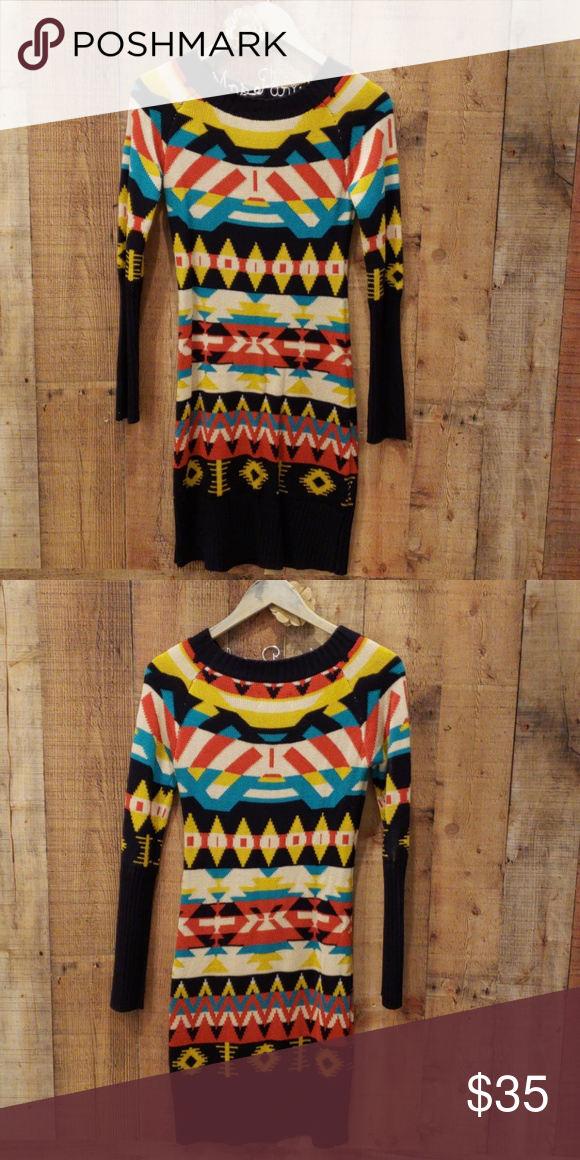 2ee8052beb Jessica Simpson Aztec Sweater Dress Small Euc