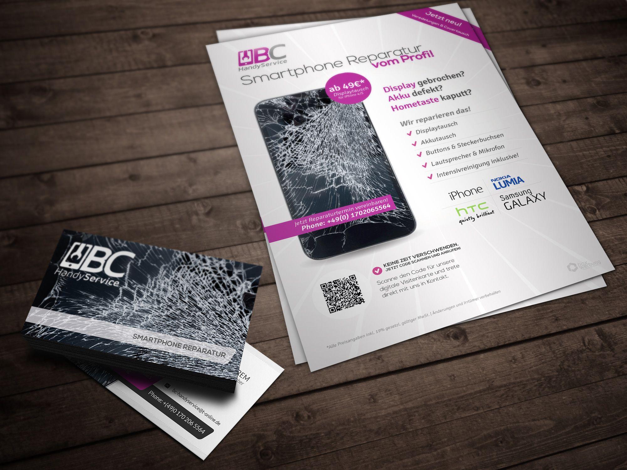 flyer und visitenkarten für einen smartphone reparatur nst